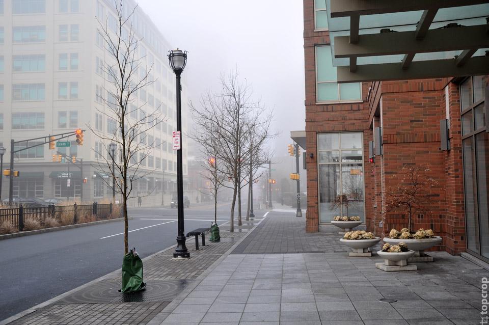 Туманное утро в Jersey City