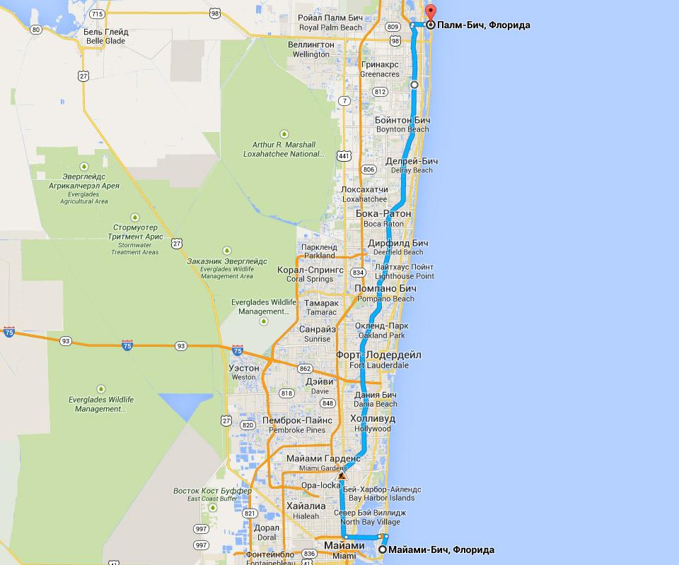 Карта маршрута из Майами-Бич в Палм-Бич