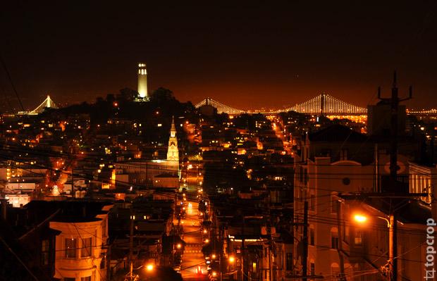 Фотография ночного Сан-Франциско