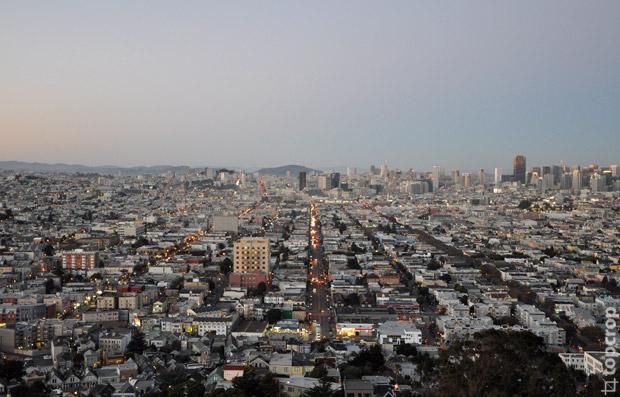 Панорама Сан-Франциско из парка Bernal Heights