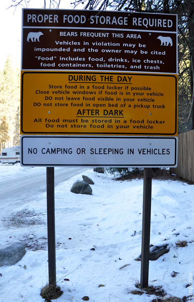 Правила нахождения на территории Curry Village в парке Йосемити