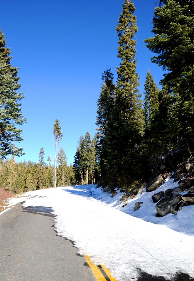 Перекрытая из-за снежных оползней дорога, ведущая к Glacier Point