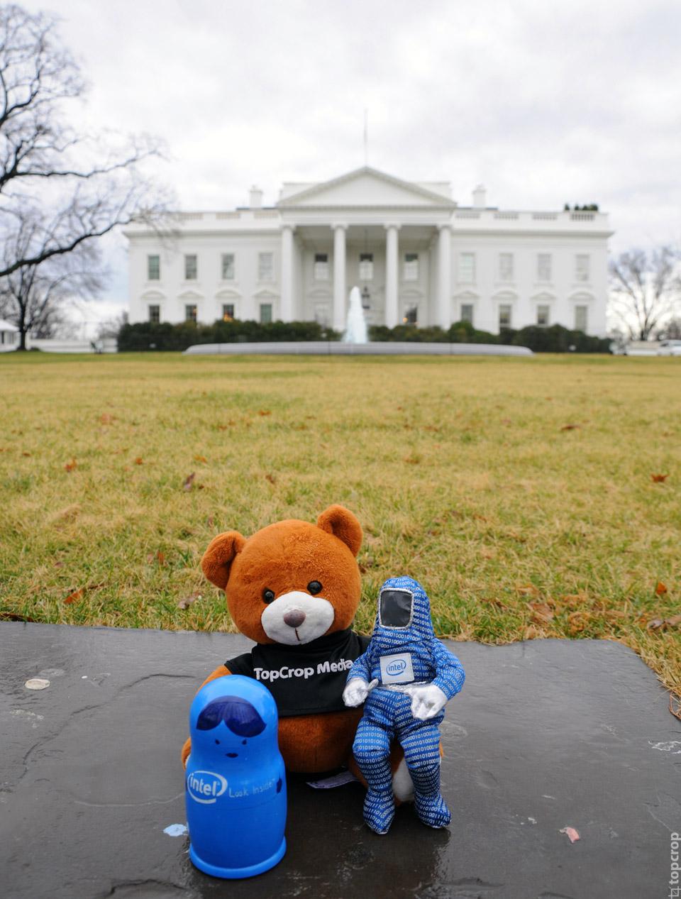 Команда экспедиции на фоне Белого Дома в Вашингтоне