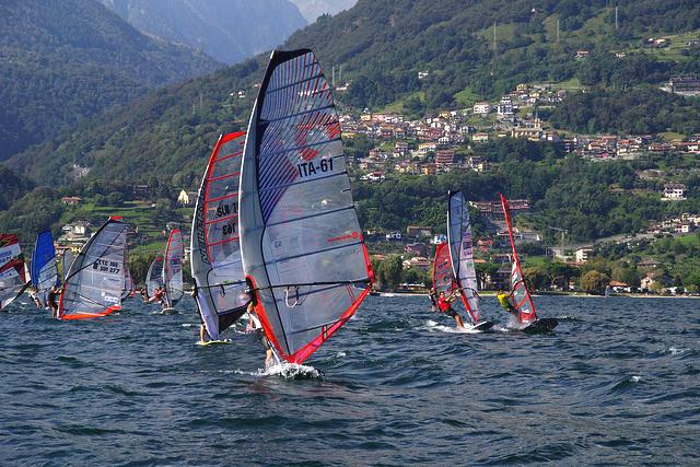 Соревнования, виндсерфинг, озеро, Комо, Италия, путешествия