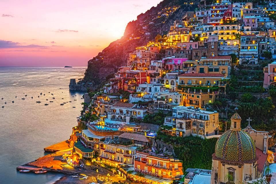 Позитано, цветной город, Италия
