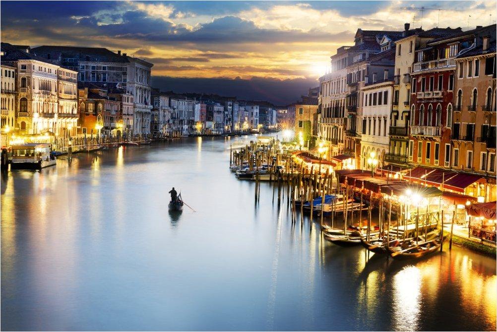 Главный канал вечером, Венеция, Италия