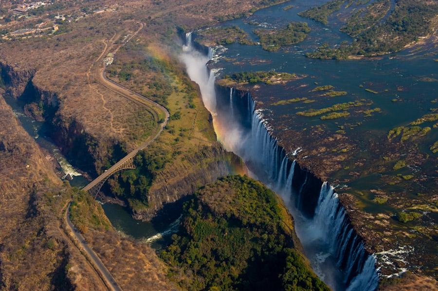 Водопад, Виктория, река, Замбези, Африка