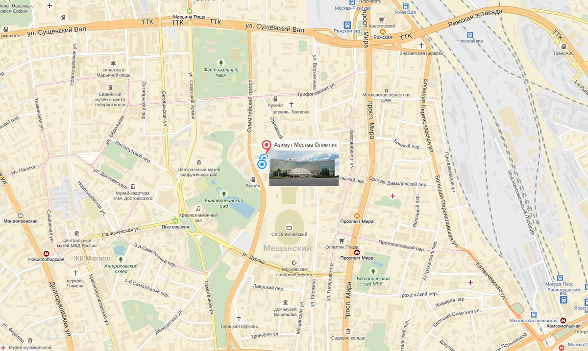 AZIMUT Moscow Olympic Hotel 4*на карте Москвы