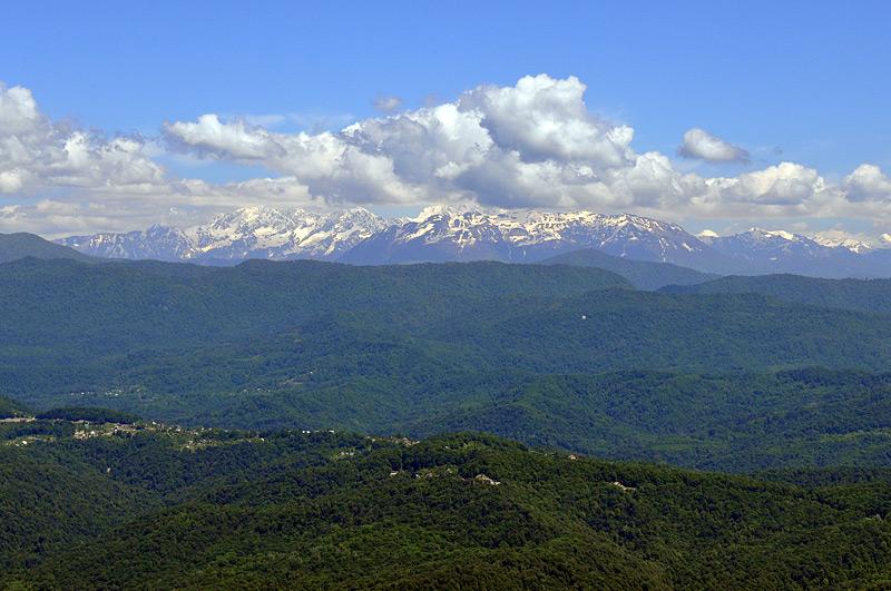 горы летом в снегу
