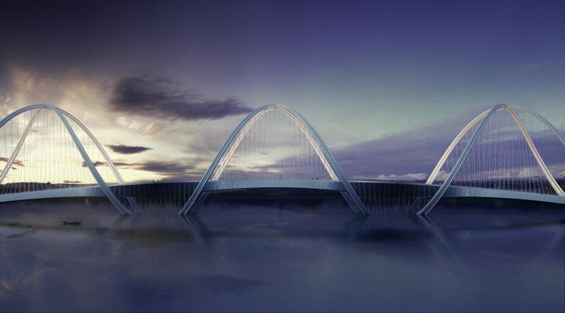 Структура моста - серия колец, соединенных в самой низкой и самой высокой точке.